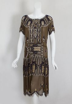 Beaded silk flapper dress, c.1924