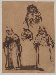 Figure Studies, ca. 1638–39 Rembrandt (Rembrandt van Rijn) (Dutch, 1606–1669) Pen and brown ink 8 5/8 x 6 1/2 in. (22 x 16.4 cm)