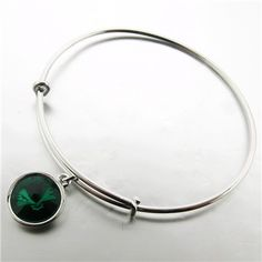 Emerald Swarovski Charm Bracelet paradisojewelry.com wholesale sterling and genuine gemstones