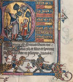 A richly illuminated prayer book known as the Aspremont Psalter-Hours. Medieval Font, Medieval Manuscript, Illuminated Letters, Illuminated Manuscript, Book Design, Design Art, Wiccan Art, Illumination Art, Book Of Kells