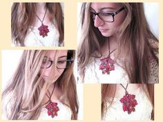 $67  Magnificent real maple leaf red pendant necklace with a hummingbird, dragonfly, and turtle. Beautiful necklace for women who love nature! Get this unique statement necklace for nature lovers in my Etsy shop today!