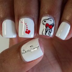 Snoopy valentines day gel nail art. Follow us on IG: @The_Nail_Lounge_Miramar