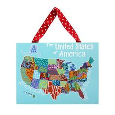 US Map: Home Decor Canvas Wall Art For Kids, Classroom, Playroom, Cafe, And  School; Ribbon For Hanging