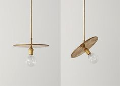 Wonderfully naked brass pendant lamp. | via Trendenser