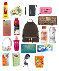 What's in my Backpack Purse A fashion look from June 2017 by shanaemcnair featuring Michael Kors, Kate Spade, Victoria's Secret, Tzumi, Beats by Dr. School Emergency Kit, School Kit, Life Hacks For School, School Bags, School Purse, Travel Bag Essentials, Road Trip Essentials, School Essentials, Road Trip Checklist
