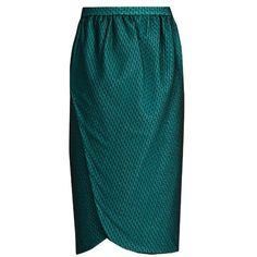 Emilio De La Morena Salma wrap-front knee-length skirt featuring polyvore, women's fashion, clothing, skirts, dark green, jersey wrap skirt, blue jersey, wrap skirt, blue knee length skirt and blue wrap skirt
