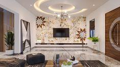 Tv Wall Decor, Door Design Interior, Circular Pattern, Corian, Beautiful Living Rooms, Single Doors, Tv Unit, Cladding, Living Room Designs