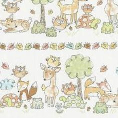 Woodland Animal Stripe by Gail Cadden for Timeless Treasures REMNANT x Forest Animals, Woodland Animals, Farm Animals, Farm Animal Quilt, Timeless Treasures Fabric, Toddler Quilt, Baby Fabric, Quilt Border, Modes4u