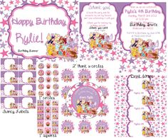 Winx Birthday set via email for 20.00 you print. We customize, you pick text font and color of font=)