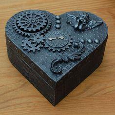 STEAMPUNK  HEART  WOODEN JEWELLERY TRINKET BOX  UNIQUE HANDMADE  AGED SILVER
