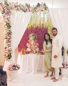 Ganpati decor Housewarming Decorations, Diy Diwali Decorations, Wedding Hall Decorations, Tent Decorations, Festival Decorations, Flower Decorations, Flower Decoration For Ganpati, Ganpati Decoration Design, Mandir Decoration