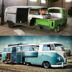 This customized Volkswagen bus Volkswagen Bus, Vw T1 Camper, Campers, Vw T1 Samba, Combi Ww, Vw Pickup, Kombi Home, Cabin In The Woods, Vw Vintage