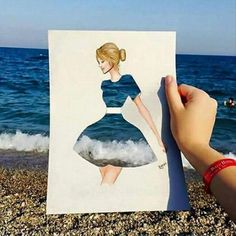 Funny pictures about Ocean Dress. Oh, and cool pics about Ocean Dress. Also, Ocean Dress photos. Creative Photography, Art Photography, Art Sketches, Art Drawings, Pencil Drawings, Illustration Mode, Illustration Fashion, Inspiration Art, Funny Art