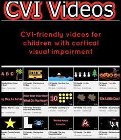 These videos are designed for children with cortical visual impairment, using movement, bubble words, reduced visual complexity to present familiar stories and songs. Multiple Disabilities, Learning Disabilities, Visually Impaired Activities, Environmental Print, Visual Impairment, French Education, Vision Therapy, Preschool Special Education, Sensory Integration