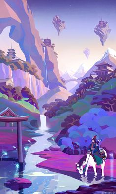 "Day Break by *AlexTooth on deviantART    Colors: great. But what I really like about this piece, aside from the ""Eyvind Earle paints Dalaran"" vibe, is the art style: abstracted blocks of color that appear as if it were done in Illustrator. Or at least something that *could* be made ""easily"" in Illustrator. But I am a vector snob, so I am biased. :-)"