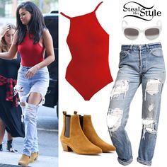 Selena Gomez arriving at Z100 Radio Station in New York City. June 22th, 2015 - photo: PacificCoastNews http://stealherstyle.net/2015/06/22/selena-gomez-red-bodysuit-destroyed-jeans/