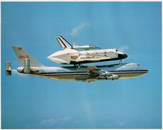 1983 NASA Full Color Space Shuttle 8x10 Photo - Photo is of back when the Space Shuttles were launched off of the back of of a jumbo jet. Printed on glossy heavy duty card stock and has a description