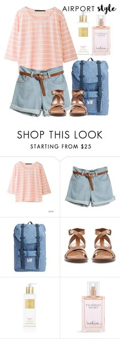 """""""Airport Style"""" by mareehamasood246 on Polyvore featuring Herschel Supply Co., Zara and Victoria's Secret"""