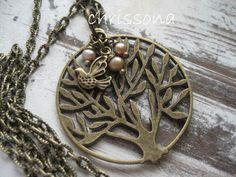 Lange Kette Lebensbaum Vogel Perlen bronze von chrissona auf DaWanda.com