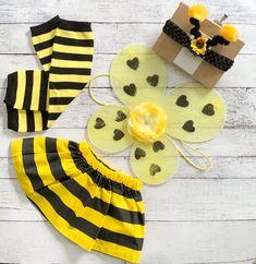 Baby Girl Bumble Bee Costume - Baby Girl Halloween Costume - Wings, Tutu, Antenna Headband and Leg Warmers