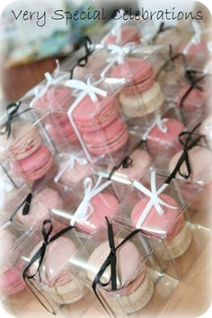 Double French Macaron Bomboniere not a fan of the black bows, but love the little boxes and white bows!