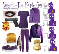 """Vincent - the purple guy fnaf cosplay"" by consultingpolyvorer ❤ liked on Polyvore featuring Vans, Gucci, STELLA McCARTNEY, BOSS Black, Vision, women's clothing, women, female, woman and misses"