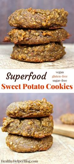 Superfood Sweet Potato Cookies from Healthy Helper | For a healthy sweet treat that benefits your brain and your body as a whole, reach for one of these Superfood Sweet Potato Cookies! Full of whole food ingredients and lots of Omega-3s your snack cravings will be satisfied and your body will be energized. Vegan, gluten-free, and oil-free cookie goodness!