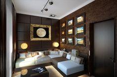 Brown Snug Living Room With White Corner Sofa