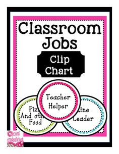 Classroom Jobs Clip chart - Blue, pink, and Green #decor #education #teachers