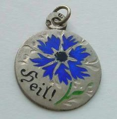 Vintage Antique Art Deco 800' Silver Enamel Charm 'Blue Flower' Cornflower | eBay