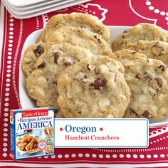 50 States in 50 Days:  Oregon :: Hazelnut Crunchers Recipe from Taste of Home.    Find regional Western recipes like this one and more in our new cookbook, Recipes Across America---->  http://www.tasteofhome.com/rd.asp?id=22997
