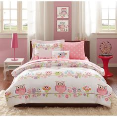 The Noctural Nellie Collection will lighten up your space with its colorful owls and flowers printed on a white background. A fun pink sheet set has small white flowers for a punch of color underneath your comforter.