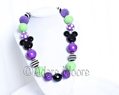 Disney Inspired Halloween Necklace, Mickey Mouse, Kids Necklace, Chunky Necklace, Chunky Bead Necklace, Child Girls Necklace