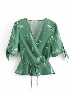 Product name: Ditsy Floral Belted Wrap Blouse at SHEIN, Category: Blouses Ditsy Floral, Floral Tops, Floral Blouse, Blouse Styles, Blouse Designs, Blouse Wrap, Green Fashion, Lingerie Sleepwear, Ladies Dress Design