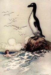 Warwick Goble - 'There he saw the last of the Gairfowl, standing up on the Allalonestone, all alone' from ''The Water-babies, a fairy tale for a Land-baby''
