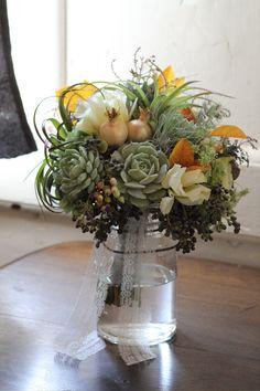 The Cutting Garden @ Flora Grubb Gardens, including Succulents! Succulent Centerpieces, Succulent Bouquet, Bride Bouquets, Floral Bouquets, Wedding Flower Inspiration, Wedding Ideas, Wedding Events, Wedding Stuff, Dream Wedding