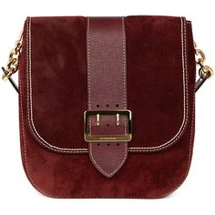 Burberry Satchel Bag in Mahogany Red Suede ($1,995) ❤ liked on Polyvore featuring bags, handbags, burberry handbags, burberry satchel, burberry, satchel purse and red purse