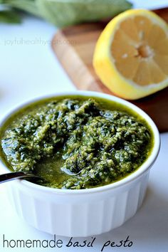 Light, Fresh, and Herby Homemade Basil Pesto. {made in 5 minutes} | www.joyfulhealthyeats.com #sauce