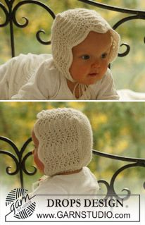 """Ravelry: Bonnet in """"Alpaca"""" in wavy pattern pattern by DROPS design Baby Knitting Patterns, Baby Hats Knitting, Knitting For Kids, Lace Knitting, Baby Patterns, Knitting Projects, Knitted Hats, Knit Lace, Crochet Baby Pants"""
