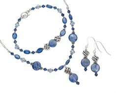 Kyanite & Crystal Jewelry- I have the bracelet and it's gorgeous! What really makes it are the two complementary shapes and shades of Swarovski crystals. They provide just enough glitter to set off the intense shades of blue in the irregularly iridescent kyanite stones. (Also blue and silver are my colors :-) Got lucky there...