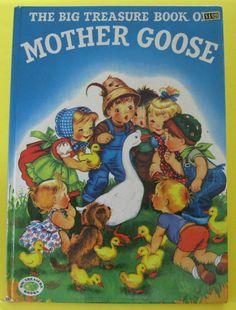 ''THE BIG TREASURE BOOK OF MOTHER GOOSE'',  illustrations by Alice Schlesinger. Grosset & Dunlap Big Treasure Book. 1953