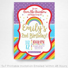 Rainbow Gold Birthday Party Printable Invitation YOU Print Rainbow Party  This is an emailed file, nothing will be shipped to you. Please include your childs name, age and party details in the notes to seller section at checkout.  We will email your high-resolution, print-ready file within 48 hours of receiving your party details and photo (if photo invitation has been purchased please email your photo to amy [at] printpopparty.com).  Your invite will be formatted to print 5x7 unless…