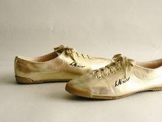 Women's Metallic Gold Tennis Shoes LA Gear LaceUp by Etsplace. $44.99, via Etsy.