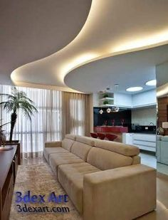 New ideas for false ceiling designs for living room and hall with best ceiling lighting ideas, how to choose suitable false ceiling design 2019 for your living room or halls, living room ceiling designs 2019 for any interior living room style Gypsum Ceiling Design, House Ceiling Design, Ceiling Design Living Room, Bedroom False Ceiling Design, Ceiling Light Design, Home Ceiling, Ceiling Decor, Ceiling Lighting, Ceiling Ideas
