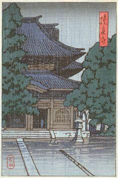 hanga gallery . . . torii gallery: Temple in rain by Kawase Hasui