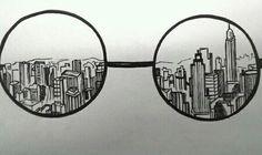 Картинка с тегом «glasses, city, and draw»