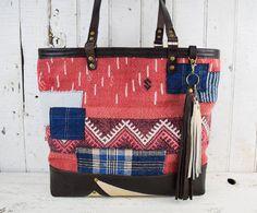 TURKISH KILIM Tote Bag with Japanese Boro Patches Repurposed Antique Textiles