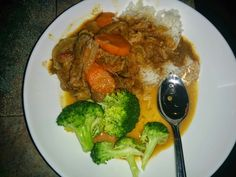 Goat Pepper soup with steamed Brocolli & rice