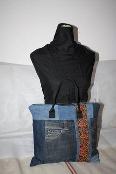 Housse ordinateur CHOMBO rembourée grande taille mixte patchwork en jean  recyclé tissu ethnique et simili cuir 5dc5dc9755c