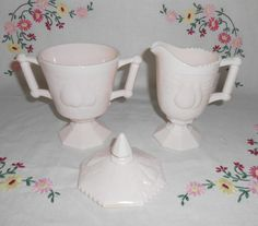 Jeannette Glass Pink Shell Baltimore Pear Creamer & Covered Sugar by WeBGlass on Etsy